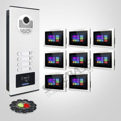 HOMSECUR 7inch Video&Audio Door Home Intercom Call Transfer Supported RFID Unlock For House/Flat (XC111-8+BM714-S)