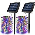 Гирлянды на солнечных батареях  8 режимов  водонепроницаемые  IP65  мерцающее освещение  для помещений и улицы  сказочные светлячки (2 упаковки ...