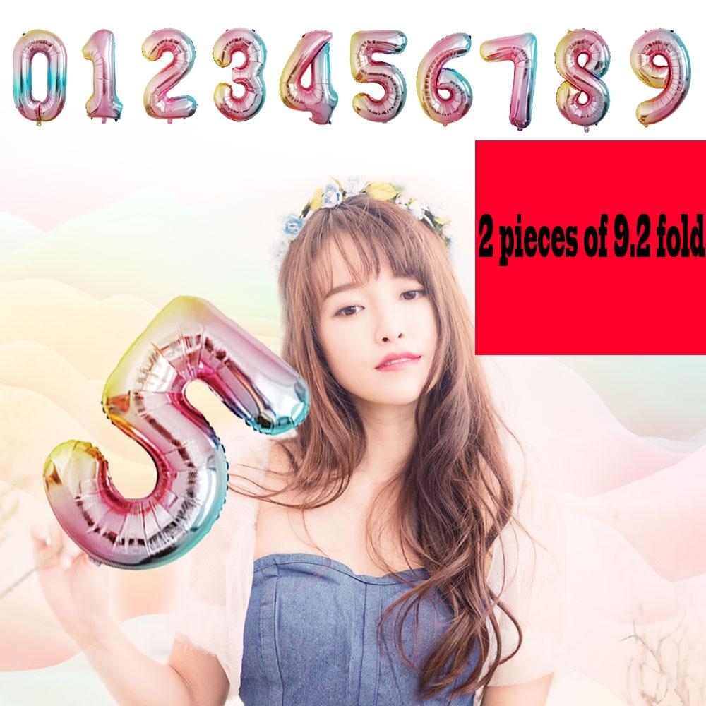 1Pcs Rainbow Giant บอลลูนแฟชั่น 0-9 หมายเลขอายุ Love ฮีเลียมบอลลูนวันเกิดงานแต่งงานตกแต่งเด็กฝักบัวอาบน้ำ