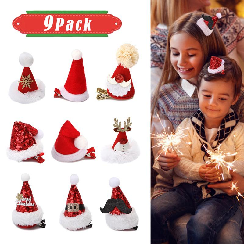 9pcs Christmas Hat Hair Clips Lovely Santa Claus Hairpins Baby Girl Headdress Kids Barrettes Xmas Gifts