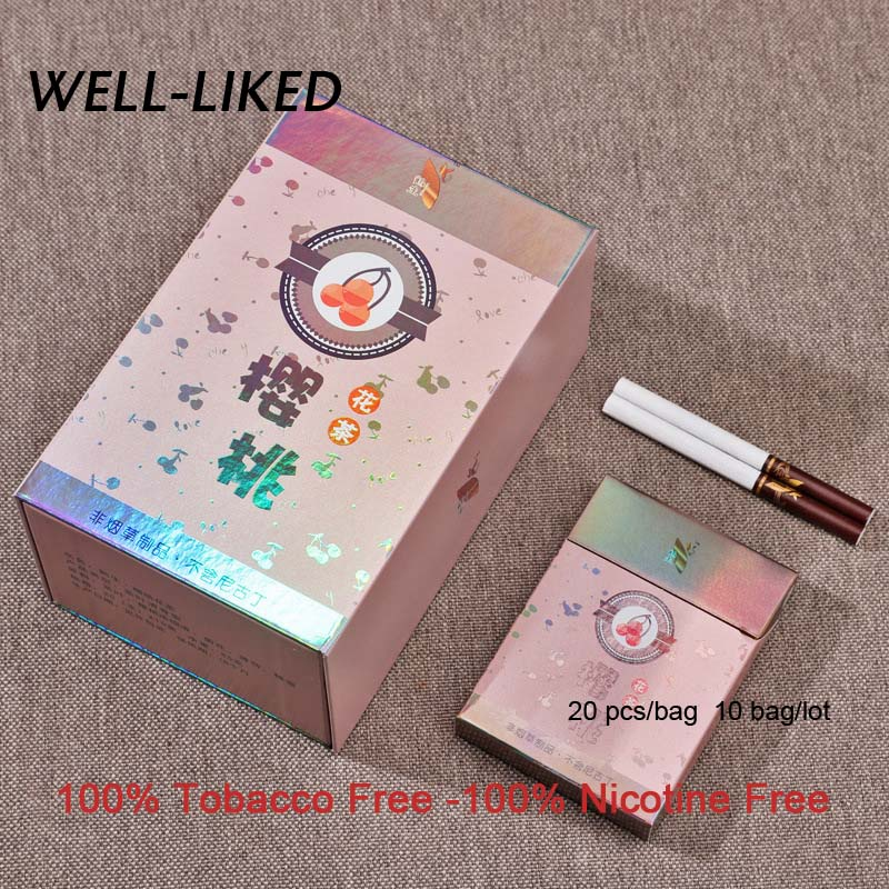 2020 NEW Cherry Fruit Tea Cigarette Herbal Cigarettes Clearing Lung To Quit Smoking No Nicotine & Tobacco Fine Cigarettes