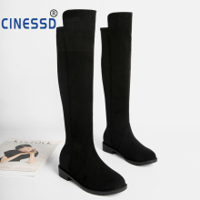 CINESSD Sexy Slim Elastic Super Fat Lady Over The Knee Boots Leather Stretch Women Shoes 2019 Fabric Size 44