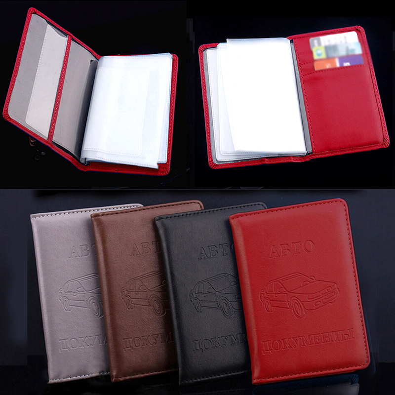 PU Leather Wallet Case Russian Auto Driver License Bag Solid Color On Cover For Car Driving Documents Card Credit Card Holder