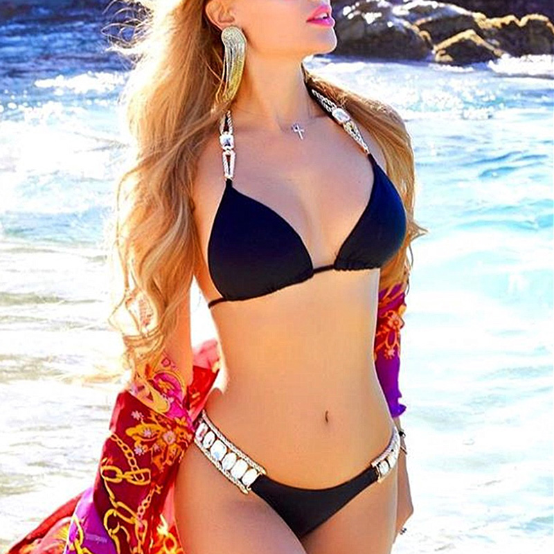 New Sexy Crystal Diamond Bikini 2020 Women Halter Bandeau Swimsuit Female Brazilian Swimwear Rhinestone Bikini Set Bathing Suit