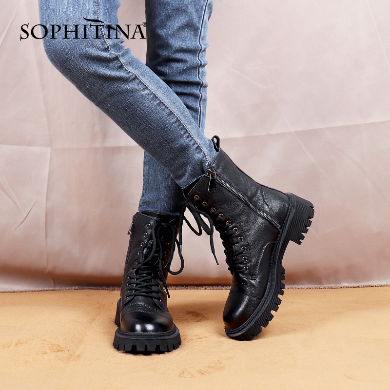 SOPHITINA Women Boots New Comfortable High Quality Leather Black Motorcycle Boots Zipper On Both Sides Lace Up Women Shoes SC845