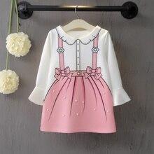 купить Baby Girl Dress 3-8T Toddler Children New Autumn Girls Cute Cartoon Print Temperament Long Sleeve Sweet Princess Dress #m онлайн
