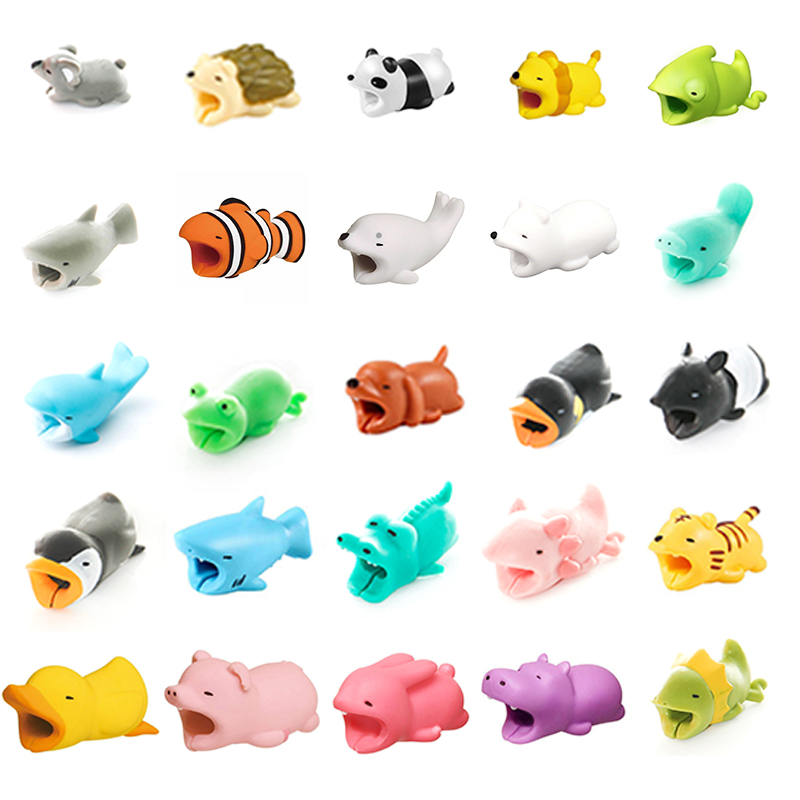 Cute Bite Cartoon Animal Cable Protector Cord Wire Protection Mini Cover Earphone Charging Cable Winder Protector Wire Organizer