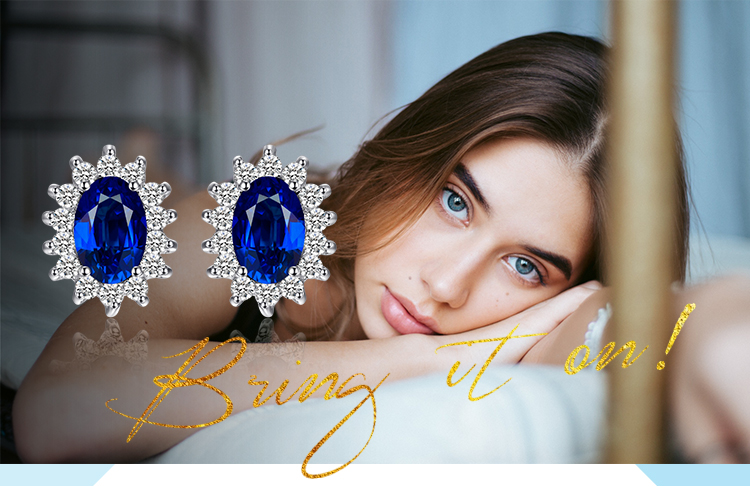 H4d17026df15847b88cac6585de2e73f7V JPalace Diana Created Blue Sapphire Stud Earrings 925 Sterling Silver Earrings For Women Korean Earings Fashion Jewelry 2019