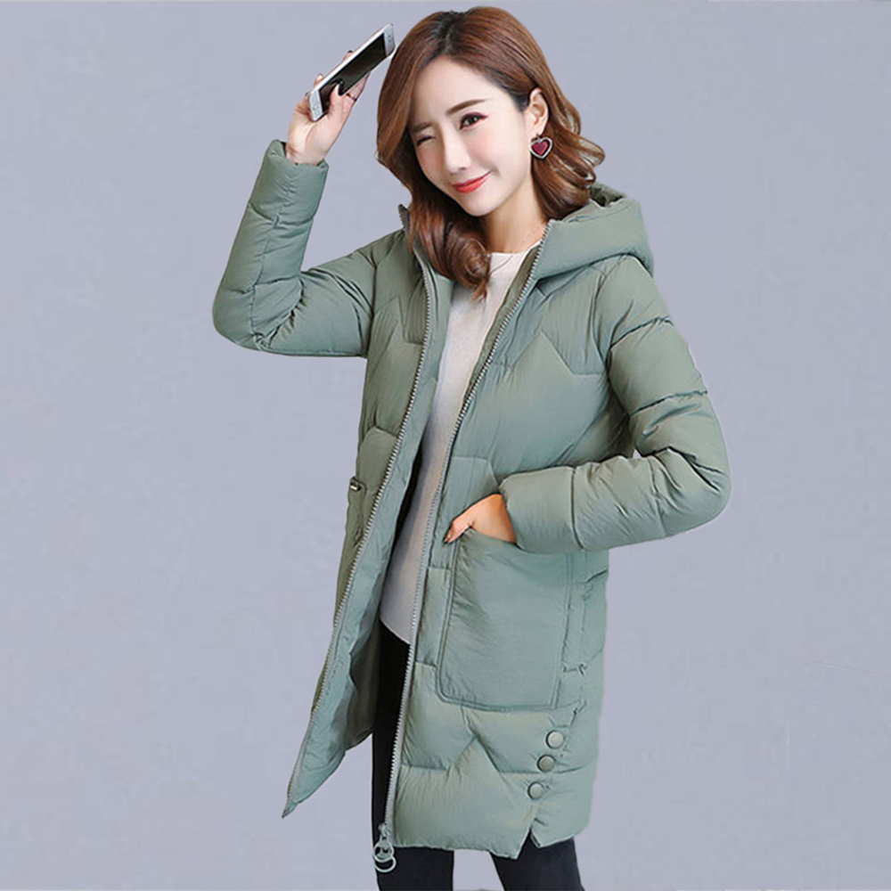 Autumn And Winter Thick Warm Casual Long Jackets Women Coats New Fashion Hooded Cotton Parka Female Outerwear Coats P128
