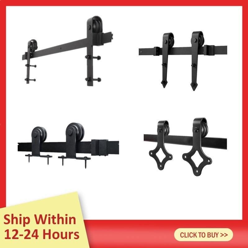 4 вида подвесных направляющих для дверей сарая для Европы, черная скользящая фурнитура для шкафа, деревянные двери, набор раздвижных направ...