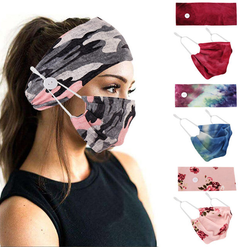 2Pcs/set button head band mask turban hair accessories soft yoga sports elastic hair band fashion hair band with mask unisex