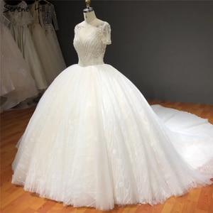 Image 2 - Vestidos de novia blancos de manga corta brillantes de gama alta con pedrería de diamante sexis vestidos de novia de lujo HA2275 hechos a medida