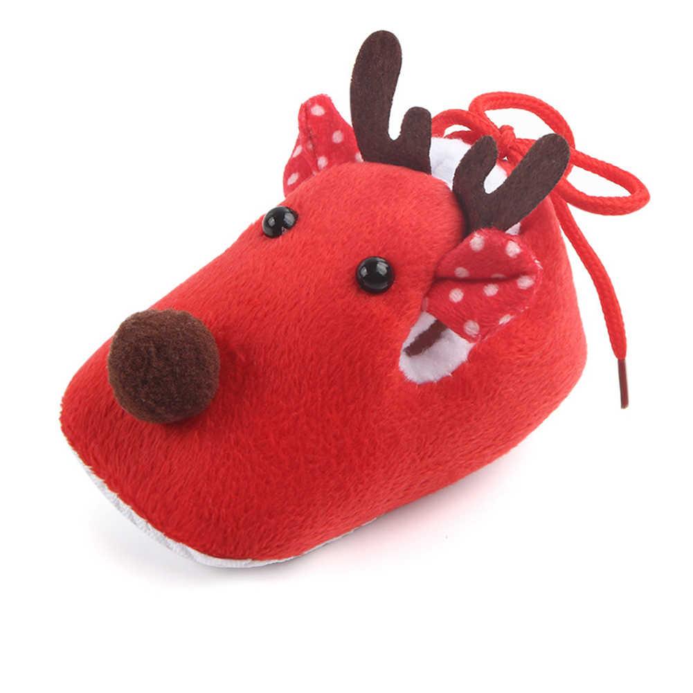 Navidad ciervo bebé niña polar antideslizante suelas zapatos cálidos Prewalker zapatillas