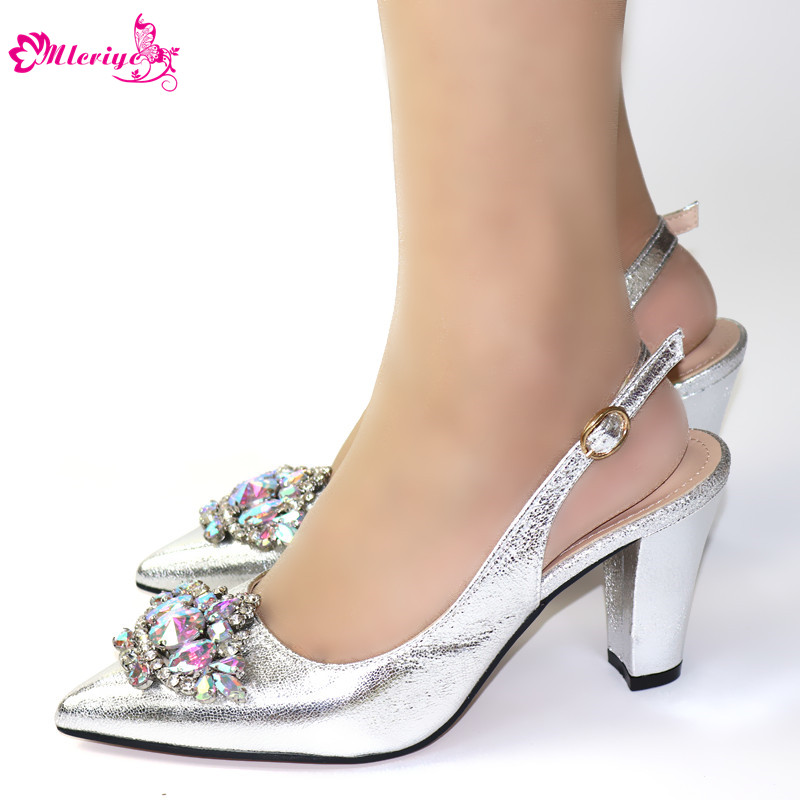 New Arrival Ladies Sandals With Heels Slip On Shoes For Women Luxury Shoes Women Italian Women Party Pumps With Rhinestone