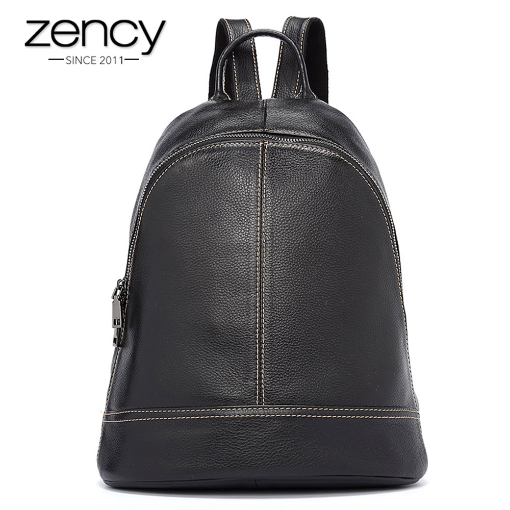Zency 100% Genuine Leather Fashion Women Backpack Preppy Style Girl's Schoolbag Black Holiday Knapsack Lady Casual Travel Bag