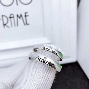 Image 1 - S925 스털링 실버 925 오리지널 럭셔리 오픈 엔드 링 Resizable Forever & Love you Charm 커플 링 Simple Fine Jewelry