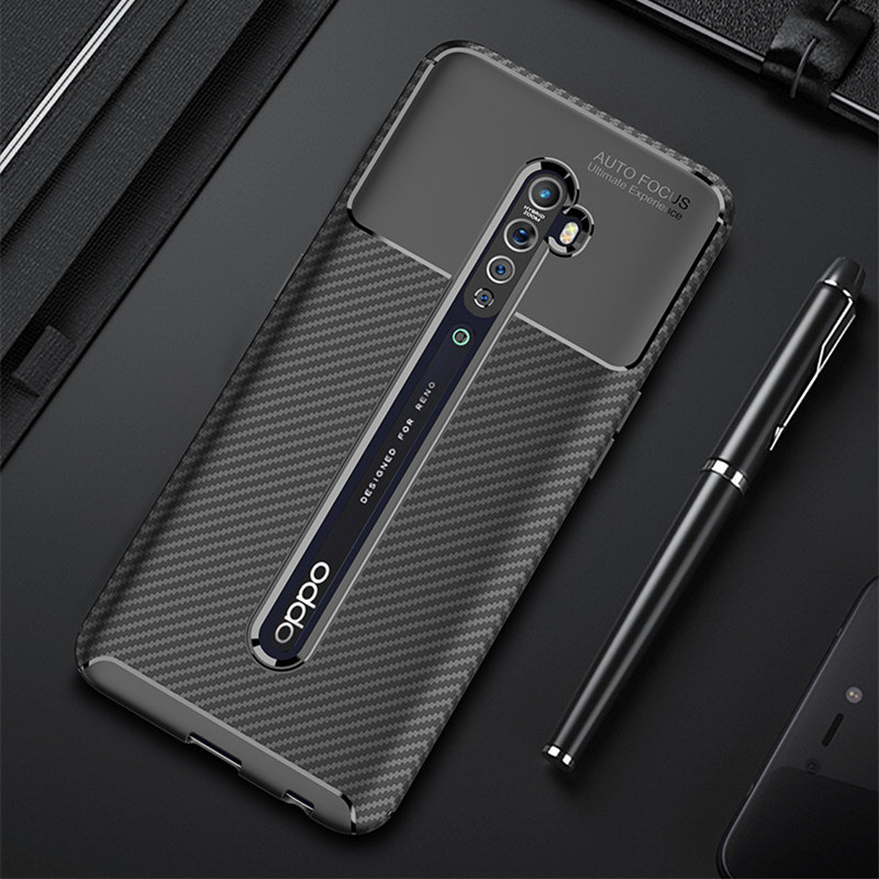 Carbon Fiber Case For OPPO Reno 2 Reno2 Case High Quality Diamond Grid Design Cover For OPPO Reno 2 CPH1907 PCKM00 Back Cover