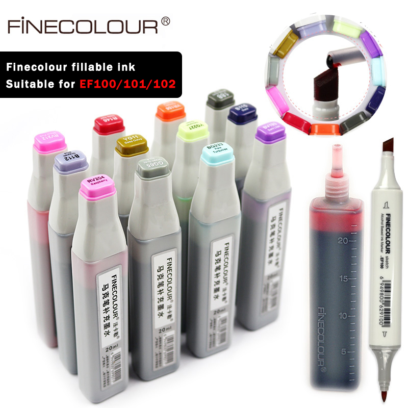 Finecolour EF900 Art Oily Alcohol Marker Ink 20ML EF100/101/102 Universal Replenishing/Supplement/Fillable Liquid Ink 480 Colors