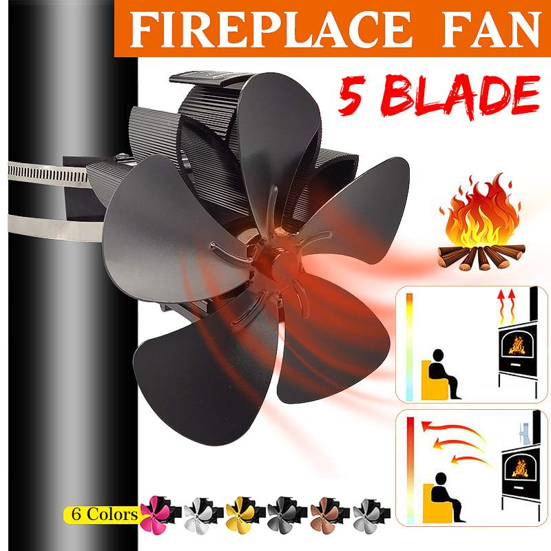 7.1inch Wall Mounted 5 Blade Heat Powered Stove Fan Komin Log Wood Burner Eco Friendly Quiet Fan Home Efficient Heat Distribute