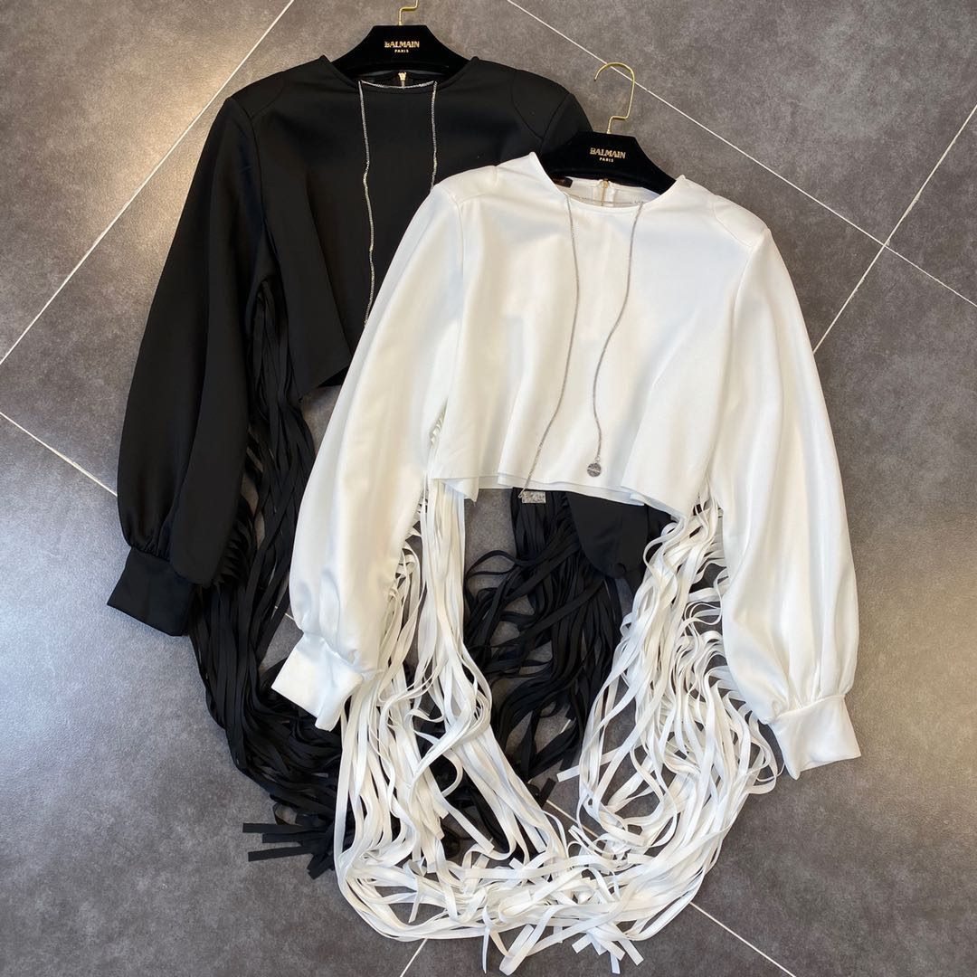 Harajuku Style Hoodies Woman 2020 Spring Chain Crew Neck Long Sleeve Tassels Short Pullover Shirt Female Hoodie White Black
