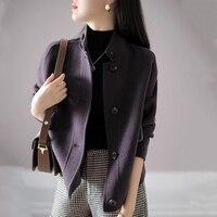 2021 herbst Winter Neue Frauen Mode Wolle Mantel Drehen Unten Kragen Einzigen Breatsed Lila Jacktes Elegante Büro Schlank Outwear