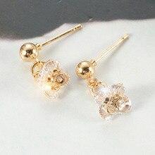2019 Special Offer Hot Sale Earrings Earring Brincos Korean Chic Girl Zircon Exquisite Superflash Cherry Flower Stamen Ear Nail