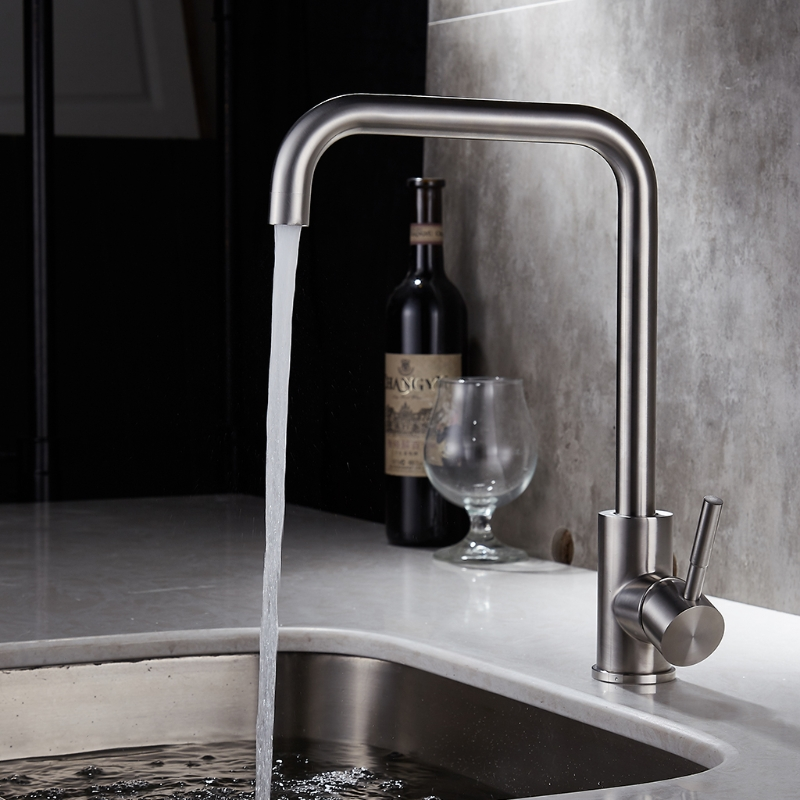 Kitchen Faucet Mixer Tap Sink Stainless Steel Single Handle 360 Degree Rotatable