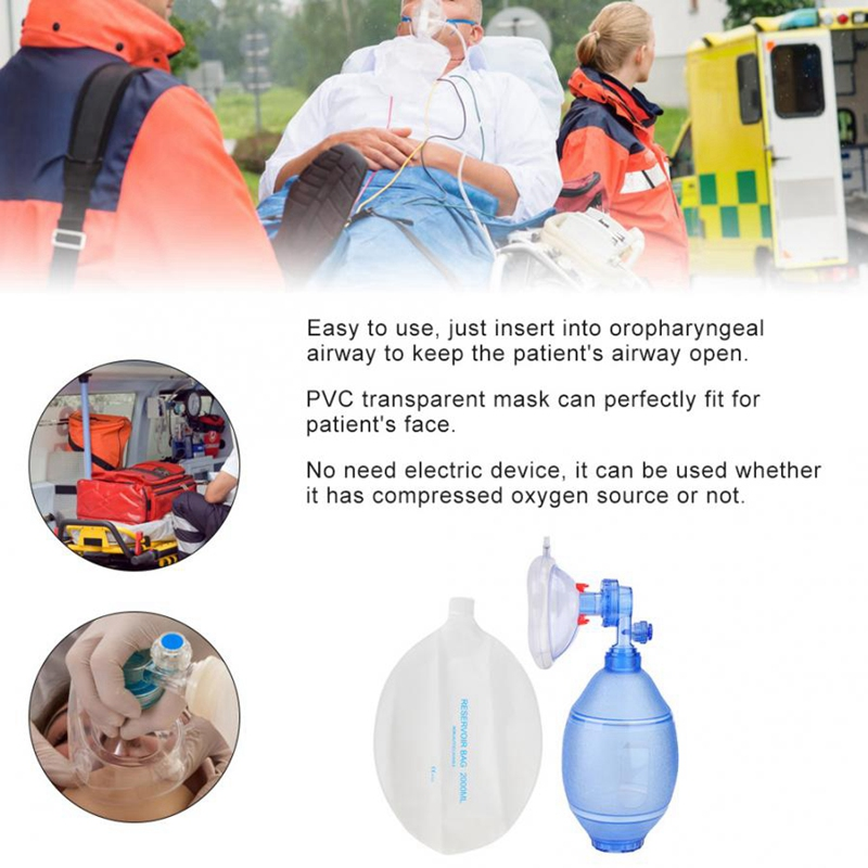 Manual Resuscitator Adult Oxygen Bag First Aid Kit Tool Simple Breathing Balloon Apparatus For First Aid Oxygen Machine