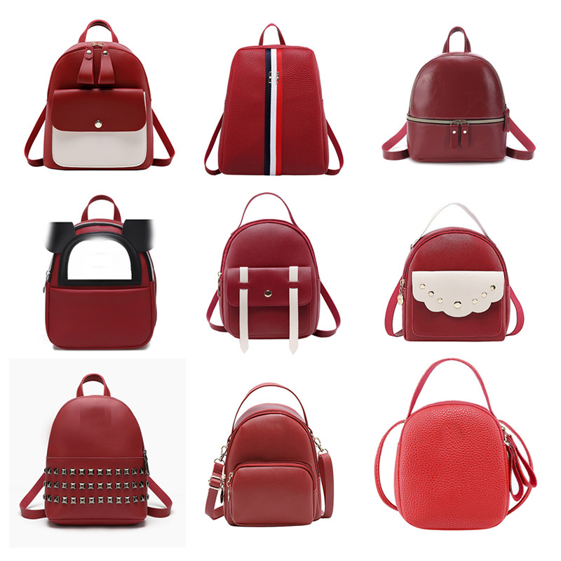 Women Bag Fashion Lady Backpack Mini Mobile Phone Bag Student Red Small Backpack Hand Shoulder Diagonal Cross Bag