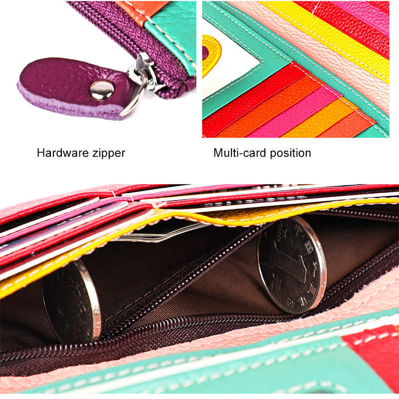 Cicicuff moda carteira feminina de couro genuíno longo embreagem senhoras bolsa com zíper bolso colorido carteira do telefone feminino billfold