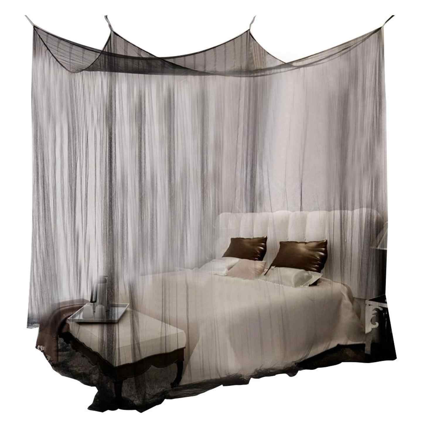 Picture of: 100 Cotton Mosquito Net Black White For Double Four Corner Bed Post Bed Canopy Mosquito Net Full Queen King Size Bedding Net Mosquito Net Aliexpress