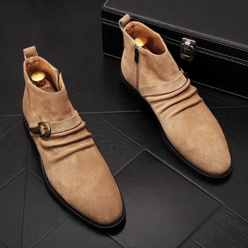 British luxury fashion men natural leather boots party banquet dress nubuck shoes ankle chelsea boot botas hombre zapatos shoe