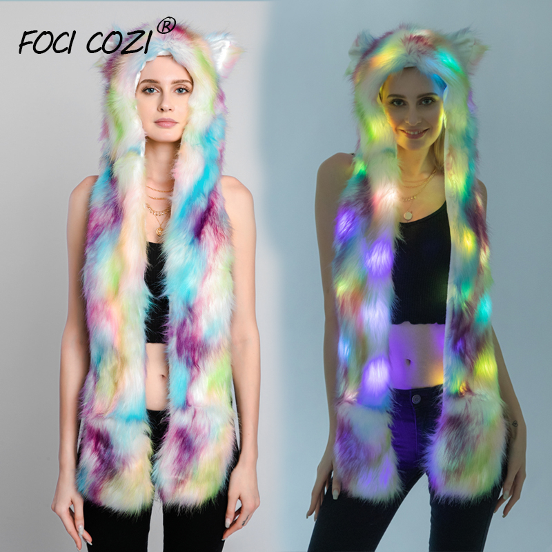 Tie Dye Faux Fur 3 In 1 Multifunctional Hat With Led Lighting Winter Hat And Scarf For Women Animal Hats With Paws For Adult