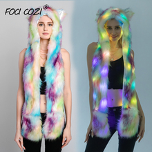 Tie Dye Faux Fur 3 in 1 Multifunctional Hat With Led Lighting Winter Hat And Scarf For Women Animal Hats With Paws For Adult free shipping 1pc lot popular crazy panda high quality faux fur hood animal hat with ear flaps and hand pockets 3 in 1 function