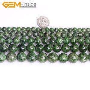 Image 2 - Gem inside AA Grade 7 14mm pierre naturelle ronde vert Semi précieuse Diopside perles pour la fabrication de bijoux 15 pouces bricolage cadeau