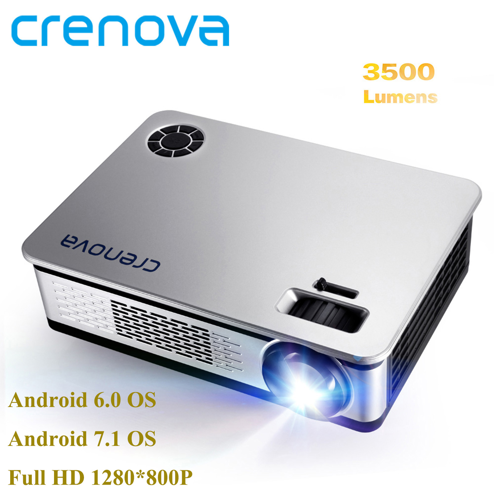 CRENOVA 4500 Lumens Video Projector For Full HD 1920*1080 Android Projector With WIFI Bluetooth Android 6.0 7.1 OS LED Beamer-in LCD Projectors from Consumer Electronics