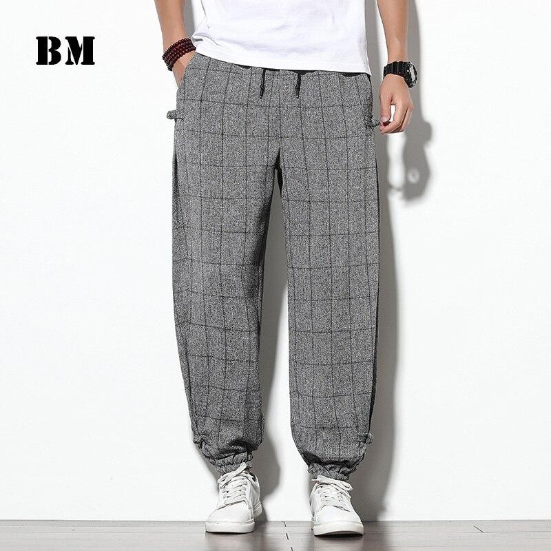 2021 Fashion Harajuku Casual Plaid Harem Pants Men Clothing Japanese Streetwear Oversized Joggers Male Plus Size Trousers