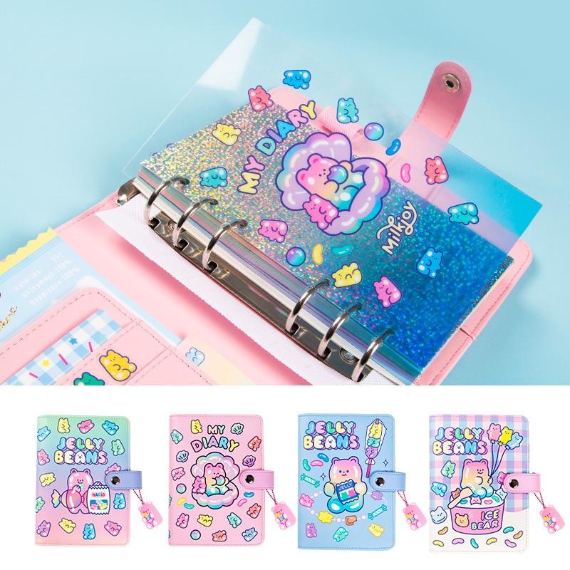 Cute Notebook A6 Binder Journal Kawaii Notepad Korean Diary Spiral Handbook For Girl Note Book Ring Planner Organizer Stationery