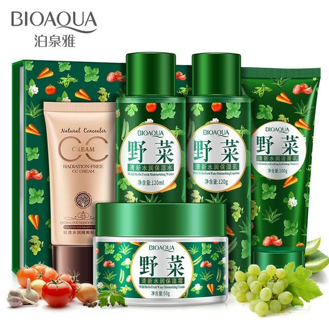 Bioaqua Brand Fresh Vegetables Set Cream+Toner+Cleanser+Moisturizing Water+Foundation Cream Acne Treatment Facial Skin Care Set