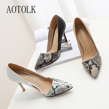 Shoes High Heels Women Pumps Snake Pattern Thin Heels Lady Shoes Pointed Toe Sex Party Female Pumps Spring New Fashion 2020 DE