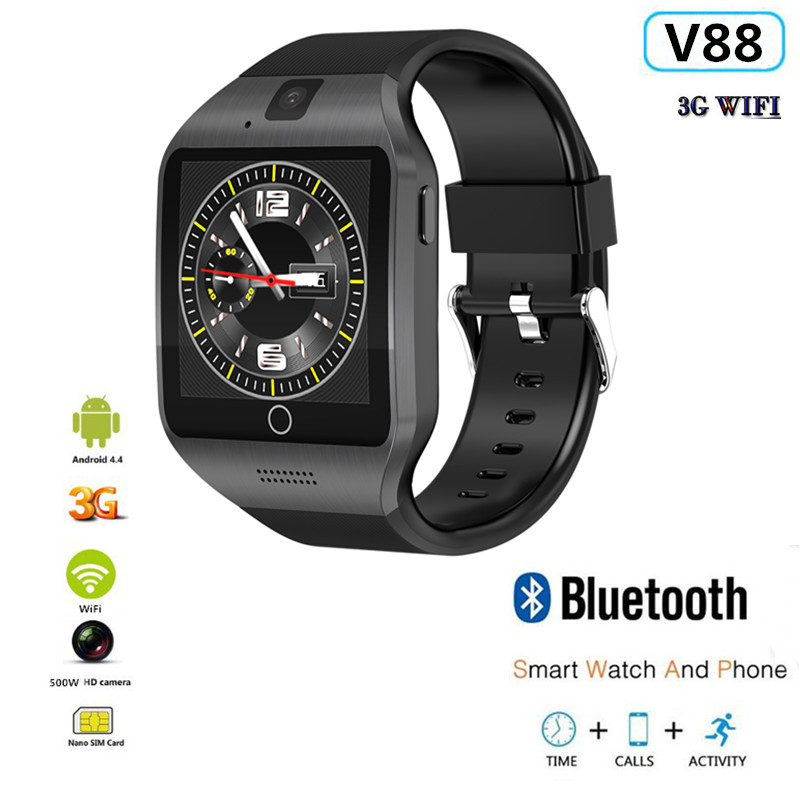 V88 Smart Watch Android 4.4 3G WIFI 512MB/4GB Bluetooth 4.0 Real-Pedometer SIM Card Call <font><b>Smartwatch</b></font> Men Women PK QW09 X86 <font><b>X100</b></font> image