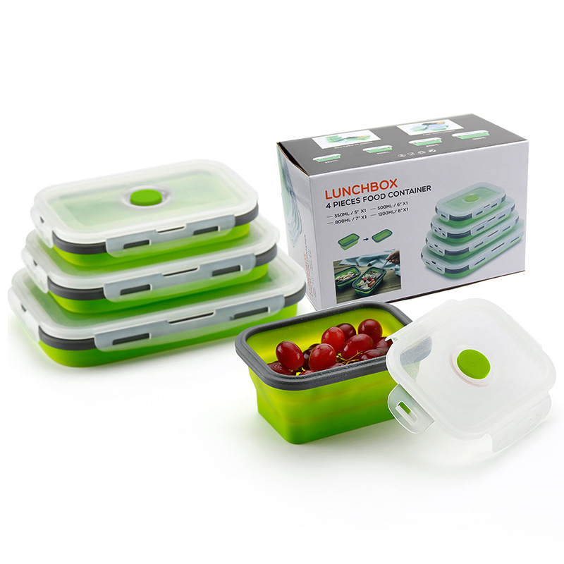 4pcs Collapsible Silicone Food Container Set BPA Free Outdoor Kitchen Dinnerware Lunch Box For Kids School Microware Bento Box