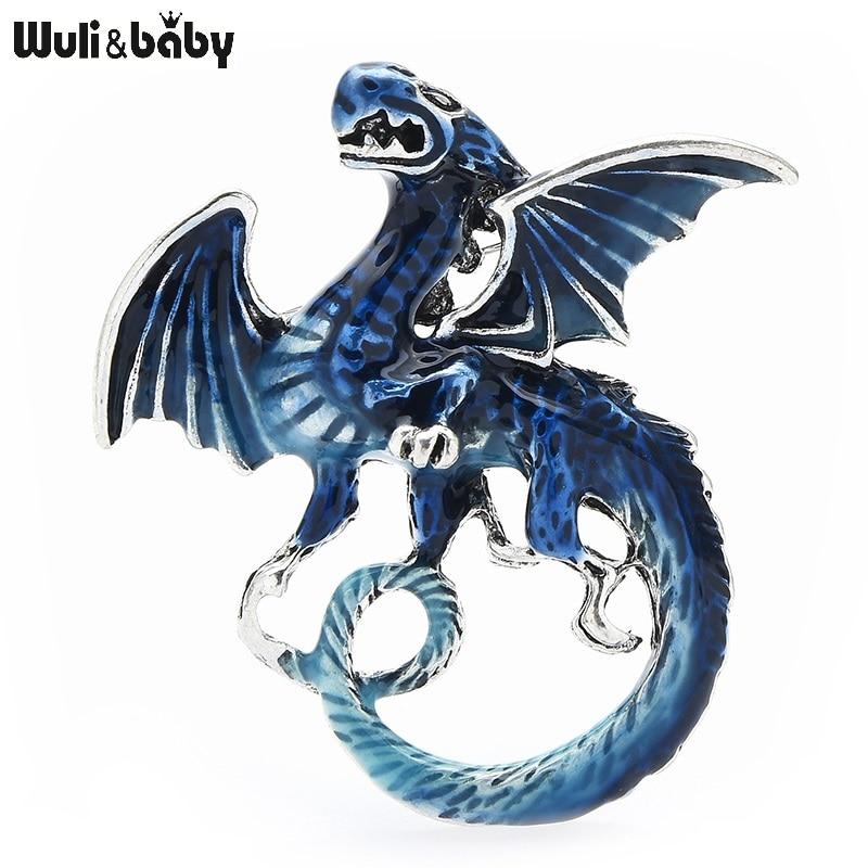 Wuli&baby Vintage Dragon Brooches 6-color Enamel Animal Women Men Casual Party Brooch Pins Gifts