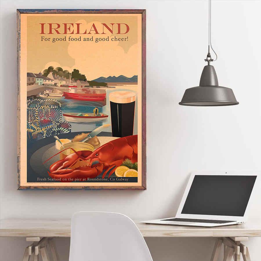 Ierland Stad Reizen Poster Antieke Landschap Schilderen Vintage Kraftpapier Hand Geschilderd Wall Art Sticker Home Decor 42x30cm