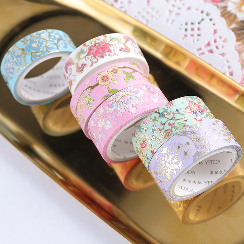 1.5cm*3m Blooming Flowers Gilding Washi Tapes Scrapbooking Diy Bullet Journal Masking Tape Stationery Decoration Supplies