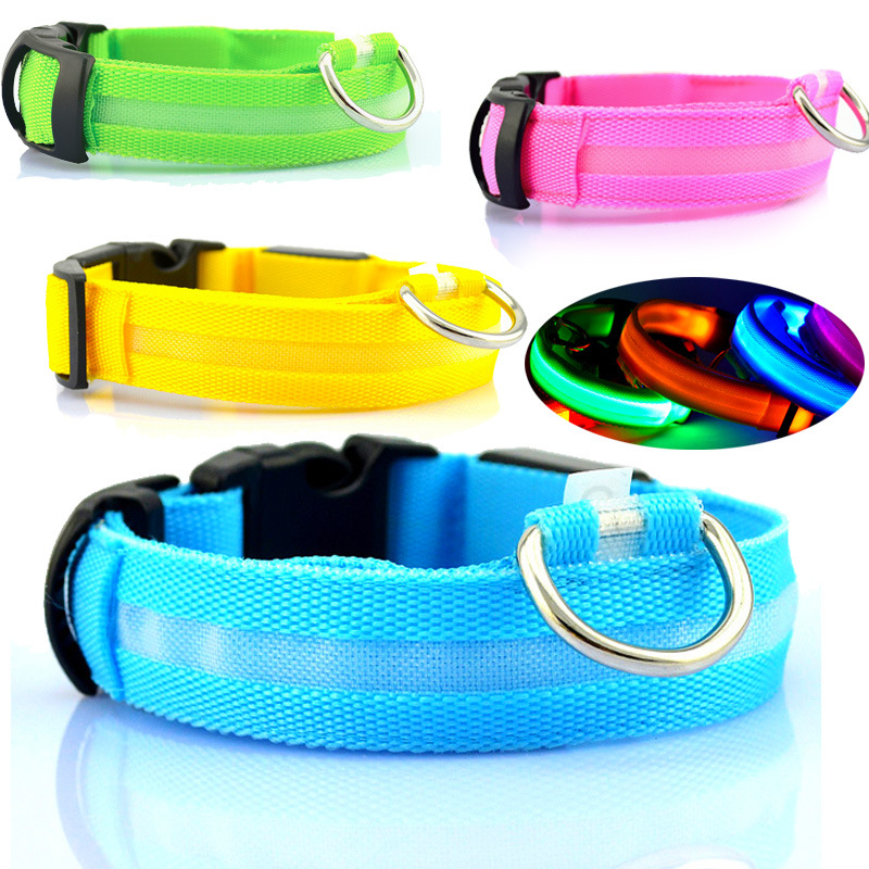 High Permeability Nylon Pet LED Luminous Dog Collar Bandana Teddy Small Dogs Night Light Neck Ring