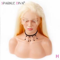 Бразильский парик Sparkle Diva #613 блонд 100% Remy из человеческих волос, плотность 130%, полностью Швейцарский парик с естественной линией волос и детс...