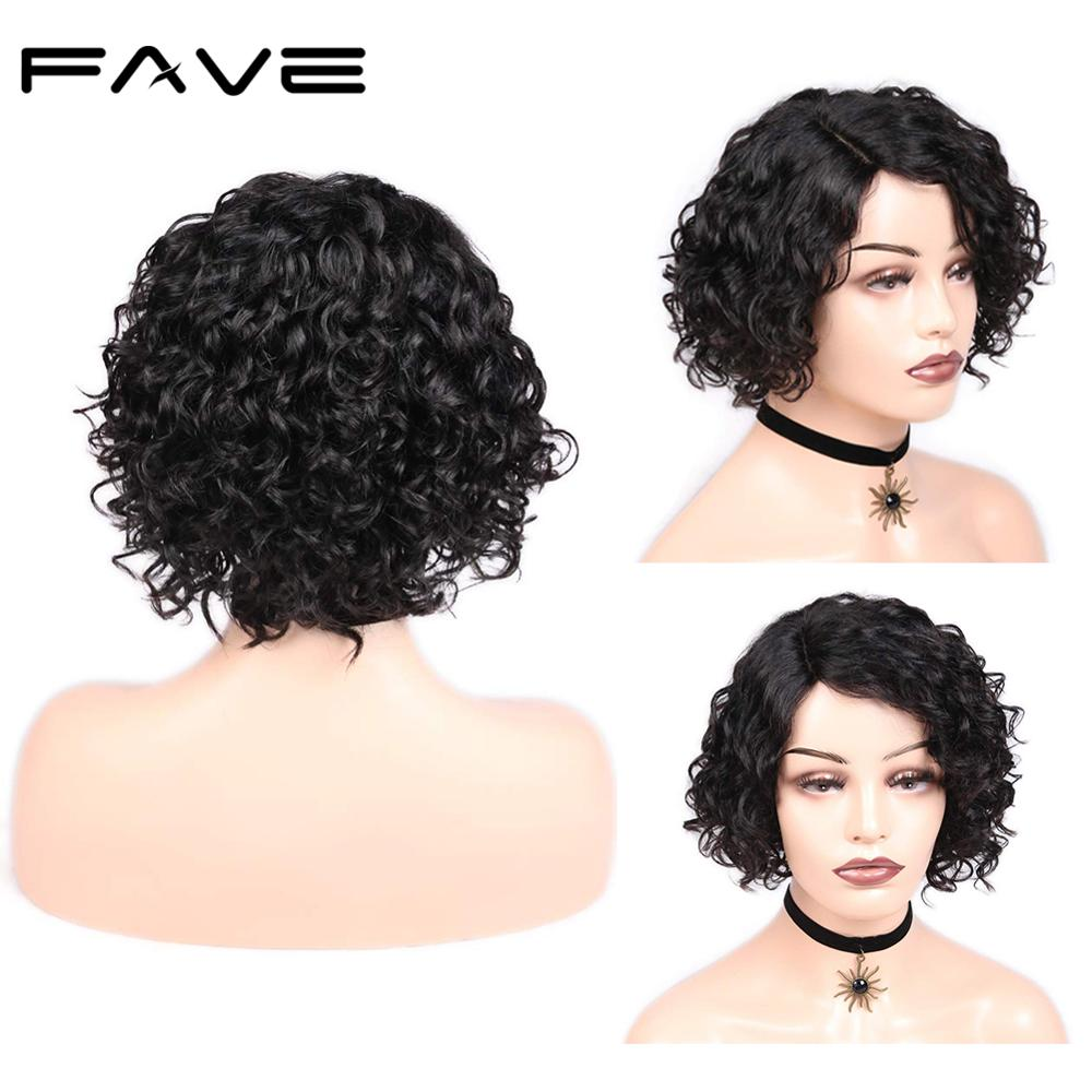 FAVE Short Afro Curly Wig Brazilian Remy Bob Lace Front Human Hair Wigs 150% Density Side Part Glueless Wig For Black Women