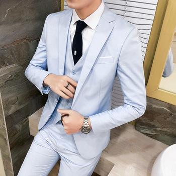 Single Breasted Solid Color Suit Male Three Piece Set Korean Version Slim Office Professional Formal Suit Groomsman Takim Elbise tanie i dobre opinie COTTON WL486 REGULAR Mieszkanie Proste Zipper fly Pojedyncze piersi Smart Casual