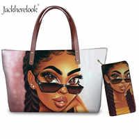 2 teile/satz Mode Frauen Composite Taschen Kunst African American Schwarz Mädchen Druck Frauen Handtaschen Schulter Tasche Geldbörse Münze Telefon Tasche